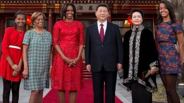 President Xi Jinping and his wife welcomed U.S. first lady and her mother and daughters