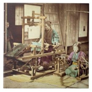 apanese women weaving, c.1890 (hand-coloured photo). Japanese Photographer,