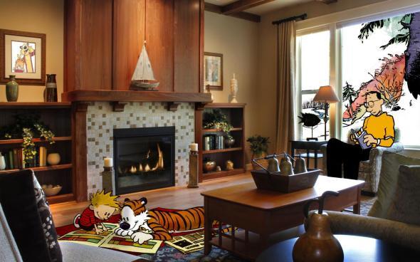 Calvin&Hobbes fireplace