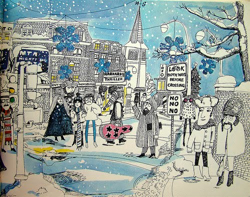 A Snowy Harvard Square in 1969