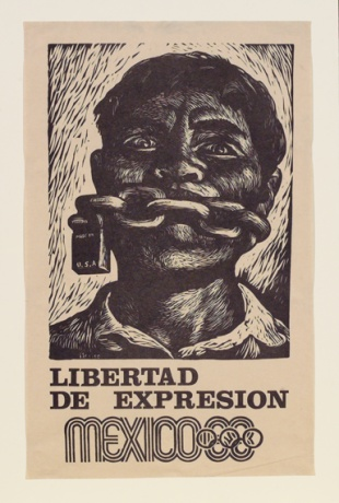 """Liberty of Expression,"" a poster issued in support of student protests before Mexico City 1968 Olympic Games, by Adolfo Mexiac Calderόn"