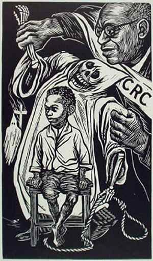 Civil Rights Congress, 1949, linoleum cut, or linocut History Fact: artist and sculpture Elizabeth Catlett