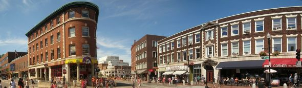 Panoramic view of Harvard Square, Cambridge, MA