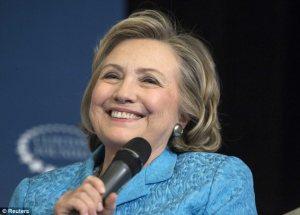 Hillary beaming
