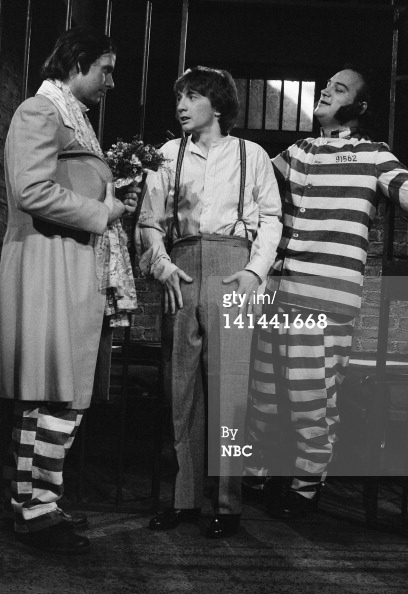 SATURDAY NIGHT LIVE -- Episode 15 -- Pictured: (l-r) Christopher Guest as Bull, Martin Short as Percival Dickerson, Jim Belushi as cellmate during 'House of Shame' skit on March 30, 1985 -- Photo by: Alan Singer/NBC/NBCU Photo Bank