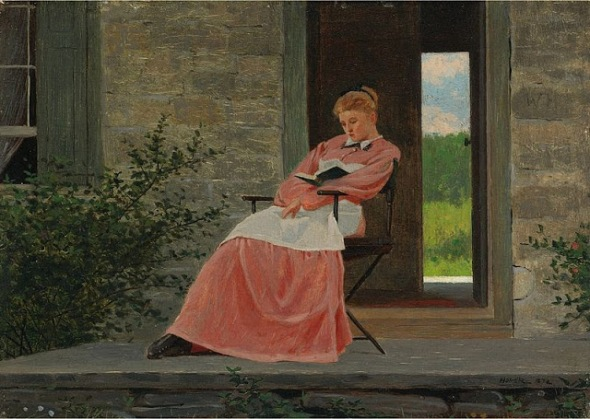 Woman Reading on a Stone Porch, Winslow Homer