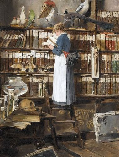 52670ee6310e0a105306382376ffd643 Maid reading in a library by Edouard John Mentha