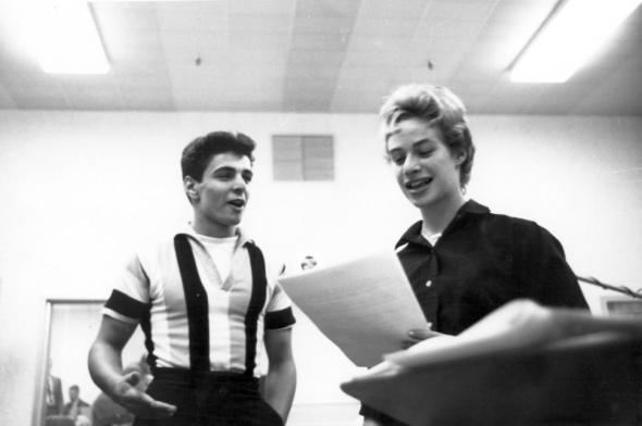 Husband and wife singer songwriting team Goffin and King rehearse during a recording session in a New York studio in 1959. (h/t NY Daily News)