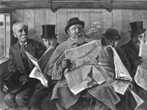 cigar-smoking-traveler-crowds-bench-seat-while-reading-a-newspaper-on-19th-century-train-copy