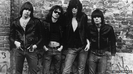 (From left) Johnny Ramone (1948-2004), Tommy Ramone (1952-2014), Joey Ramone (1951-2001) and Dee Dee Ramone (1952-2002) of the American punk group The Ramones (NY Daily News).