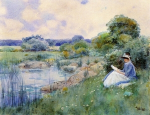 woman-reading Childe Hassam 1885