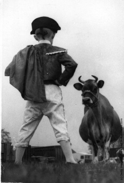 1960: A boy, dressed as a toreador, faces a large prize-winning Jersey cow at a Scottish agricultural show.