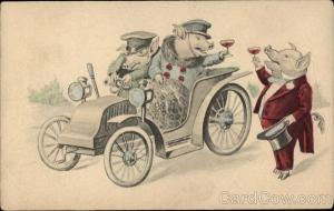 Pigs Driving, Toasting