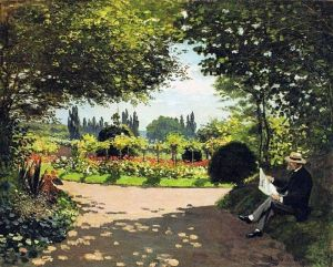 Adolphe Monet Reading in the Garden, Claude Monet