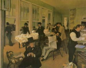 At the Miliners, by Edgar Degas, 1882
