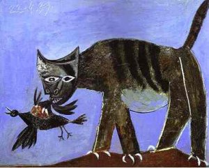 Cat with bird, Pablo Picasso