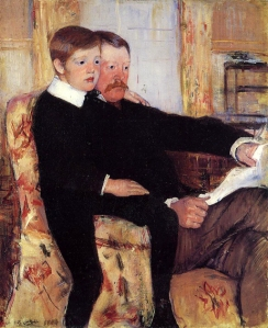 Portrait of Alexander J. Cassatt and his son Robert Kelso Cassatt, by Mary Cassatt