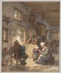 reading the news at the weavers' cottage 1673 adriaen vanOstade