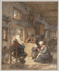 Reading the News at the Weavers' Cottage, 1673, Adriaen van Ostade