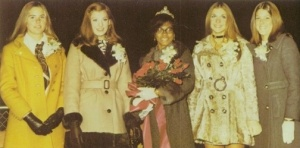 The 1971 Homecoming Queen and her court in the Orange and Black yearbook of Wheaton Warrenville South High school, Wheaton, Illinois.