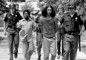 A Hash Bash party at U-M Diag leads to arrests in Sept. 1973.
