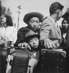 Japanese Americans headed towards internment camps