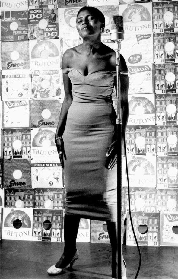 Miriam Makeba posing for Drum Magazine
