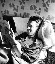 jimmy stewart reads in bed