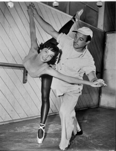 "Leslie Caron and Gene Kelly behind the scenes of ""An American in Paris"""