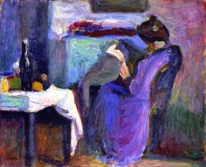 matisse-henri-1869-1954 Reading woman in violet dress, 1898