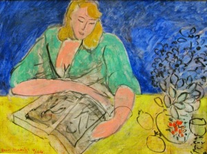 Matisse - Woman reading at a yellow table