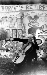 Mstislav Rostropovich playing Sarabande from Bach's Cello Suite no 2, at the Berlin Wall's Checkpoint Charlie (November 1989)