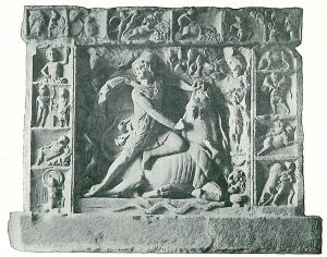 Relief of Mithras as bull-slayer from Neuenheim near Heidelberg, framed by scenes from Mithras' life (from Wikipedia).