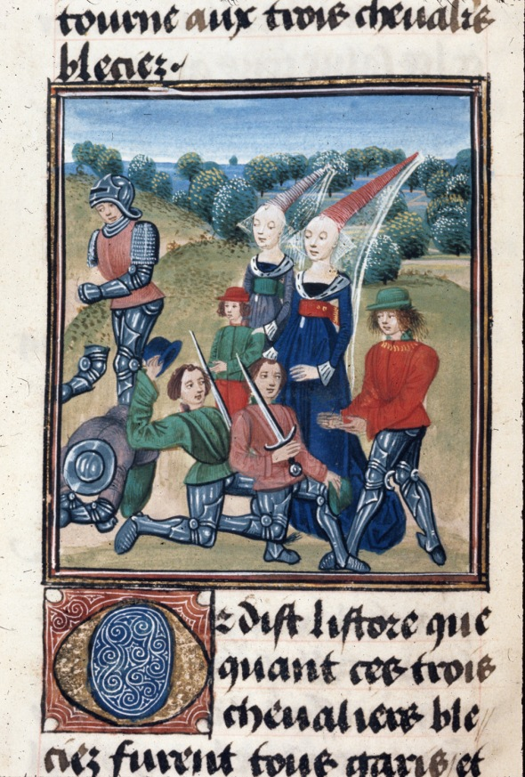 Detail of a miniature of two knights kneeling in submission to Cleriadus, while another lies dead, and a fourth with a broken arm, with two ladies and a dwarf behind