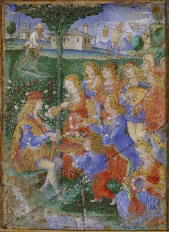 miniature-of-the-month-of-may-with-a-seated-young-man-receives-fruit-and-flowers-from-a-courtly-group-composed-of-a-dwarf-three-girls-and-five-youths-some-of-whom-play-musical-instruments