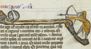 hey cat. stop licking your butt on the Book of Maccabees or you'll get an arrow! see also: Gospel Cat and Apocalyptic Cat below the cat: 1Maccabees 16:18-20 'Et scripsit hæc Ptolemæus, et misit regi ut mitteret ei exercitum in auxilium, et traderet ei regionem, et civitates eorum, et tributa. Et misit alios in Gazaram tollere Joannem: et tribunis misit epistolas, ut venirent ad se, et daret eis argentum, et aurum, et dona. Et alios misit occupare Jerusalem et montem templi' ('And Ptolemee wrote these things and sent to the king that he should send him an army to aid him, and he would deliver him the country, and their cities, and tributes. And he sent others to Gazara to kill John: and to the tribunes he sent letters to come to him, and that he would give them silver, and gold, and gifts. And he sent others to take Jerusalem, and the mountain of the temple') Biblia Porta, France 13th century. Bibliothèque cantonale et universitaire de Lausanne, U 964, fol. 376r