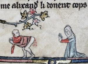 holy hemorrhoid  Roman d'Alexandre, Tournai 1338-1344. Bodleian Library, MS. Bodl. 264, fol. 56r