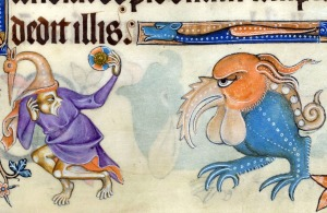 bird hat guy and a ballchinian monster Luttrell Psalter, England ca. 1325-1340. British Library, Add 42130, fol. 145r