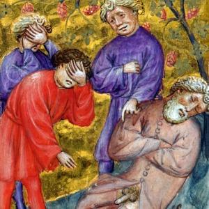 medieval facepalm (Noah, Ham, Shem and Japheth, Genesis 9:20-24) Biblia Pauperum, Netherlands ca. 1395-1400 (British Library, Kings 5, fol. 15r)