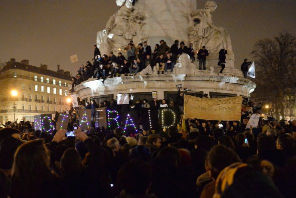 Vigil in Paris for the Charlie Hebdo victims (NPR)