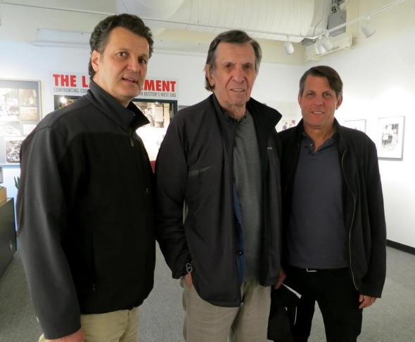 West End Museum curator Duane Lucia with Leonard and Adam Nimoy at the museum in 2013.