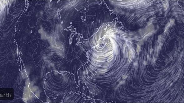 Computer simulation of the wind field associated with the New England storm on Feb. 15, 2015.