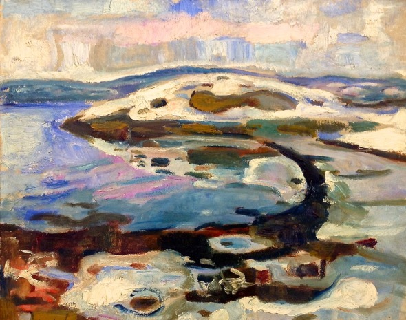 Edvard Munch, Winter landscape at Hvitsten, 1918