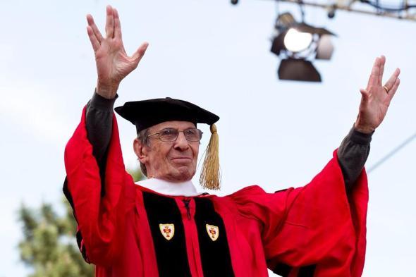 Leonard Nimoy receives honorary degree from Boston University, May, 2012.