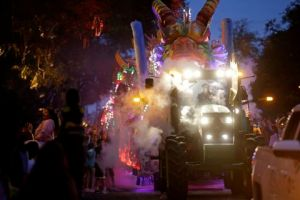 A float in the Krewe of Proteus passes down Napoleon Avenue during their Mardi Gras parade in New Orleans, Monday, Feb. 16, 2015.