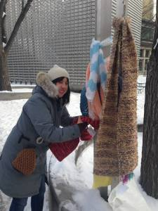 Scarf bombing in Winnipeg