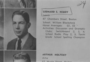 Nimoy's high school yearbook photo