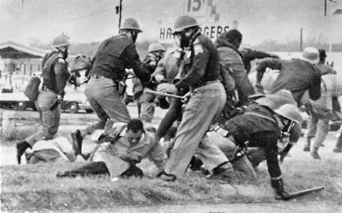 Alabama state troopers attack protesters in Selma, March 7, 1965