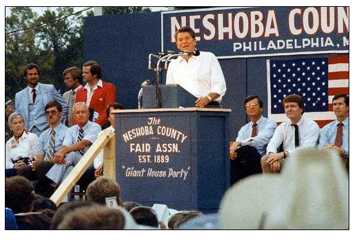 Ronald Reagan kicks off his 1980 presidential campaign in Philadelphia, Mississippi.