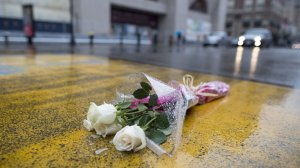 Flowers placed at the finish line of the Boston Marathon last week (from NPR).